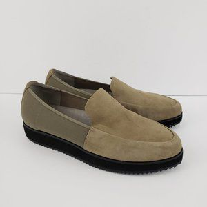 EILEEN FISHER Dell Taupe Suede Platform Loafers 9